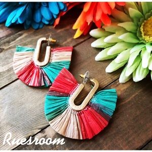 Raffia Drop Earrings,Boho earrings,🆕 😍